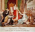 In this 1806 French print, the woman with the Menorah represents the Jews being emancipated by Napoleon Bonaparte