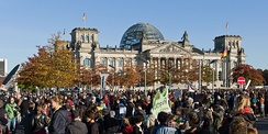 Occupy Berlin protests on 15 October 2011, pictured in front of the Reichstag
