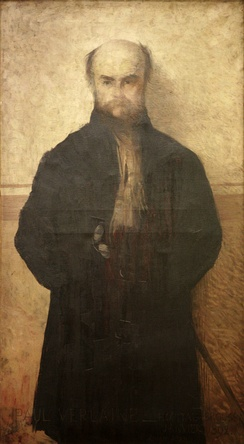 Paul Verlaine by Edmond Aman-Jean, 1892, oil on canvas, Golden Courtyard museums .mw-parser-output .templatequote{overflow:hidden;margin:1em 0;padding:0 40px}.mw-parser-output .templatequote .templatequotecite{line-height:1.5em;text-align:left;padding-left:1.6em;margin-top:0}Metz with its magnificent open countries, prolific undulating rivers, wooded hillsides, vineyards of fire; cathedral all in volute, where the wind sings as a flute, and responding to it via the Mutte: this big voice of the good Lord![50]— Paul Verlaine, Ode to Metz, Invectives, 1896