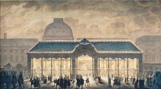 A construction in the Place du Carrousel at the time, in 1745, of the marriage of Louis, Dauphin of France. Note the Tuileries Palace in the background.