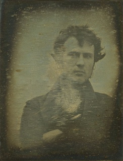 "Robert Cornelius, self-portrait, October or November 1839, an approximately quarter plate size daguerreotype. On the back is written, ""The first light picture ever taken""."