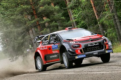 The Citroën C3 WRC racing at the 2017 WRC Rally Finland