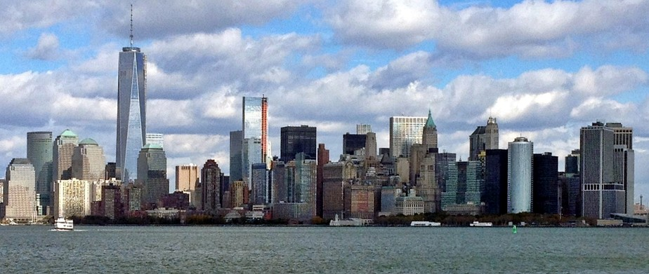 The Financial District of Lower Manhattan and New York City, as viewed from New Jersey in October 2013
