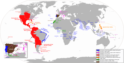 The combined Spanish and Portuguese empires during the Iberian Union (1580–1640)