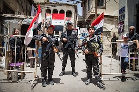Symbolic Syrian boy soldiers, fans of the Syrian Army