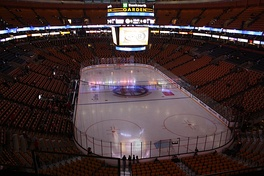The Boston Bruins' hockey rink prior to a game vs the Montreal Canadiens in 2008 then TD Banknorth Garden