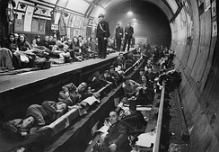 Aldwych tube station being used as a bomb shelter in 1940