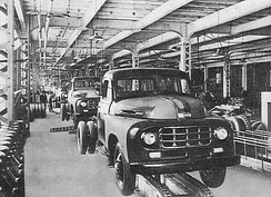 Mass production at a Toyota plant in the 1950s