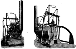 Trevithick's No. 14 engine, built by Hazledine and Company, Bridgnorth, about 1804, and illustrated after being rescued circa 1885; from Scientific American Supplement, Vol. XIX, No. 470, 3 January 1885. This engine is on view at the Science Museum (London).