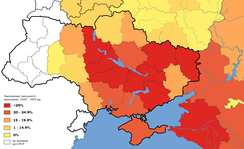 Map of depopulation of Ukraine and southern Russia, 1929–33. Territories in white were not part of the USSR during the famine.