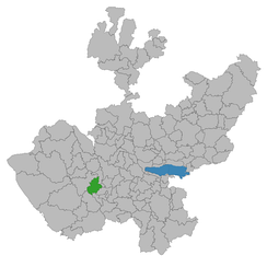 Location of Unión de Tula, Jalisco (in green), where the disarmament took place