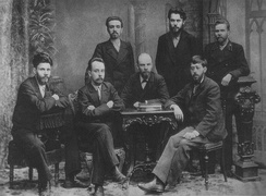 Lenin (seated centre) with other members of the League of Struggle for the Emancipation of the Working Class in 1897