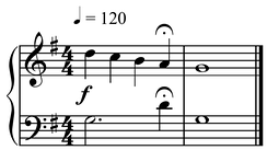 Urlinie in G with fermata on penultimate note.  Play without fermata (help·info) &  Play with (help·info) (compare with penultimate note at  double the value (help·info))