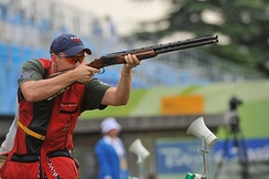 Vincent Hancock in the men's skeet finals at the 2008 Summer Olympics