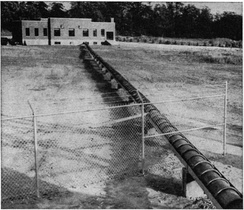 Early coaxial antenna feedline of 50 kW radio station WNBC, New York, in 1930s