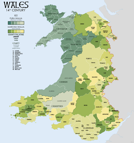 Wales in the 14th Century showing Marcher Lordships