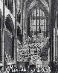 The chorus, orchestra and organ in Westminster Abbey, London during the Handel Commemoration in 1784