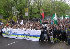 Ultras of FC Karpaty Lviv and FC Dynamo Kyiv wave the UPA flag in May 2011