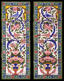 Two panels of earthenware tiles painted with polychrome glazes over a white glaze, Iran, first half of the 19th century.