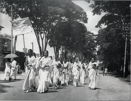 Women students marching in defiance of the Section 144 prohibition on assembly, during the Bengali Language Movement