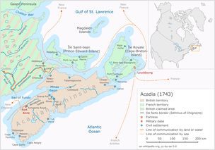 Acadia in 1743, the year before King George's War had begun. Major battles of the war are marked on the map.