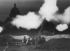 Soviet 85mm anti-aircraft guns deployed in the neighborrhood of St Isaac's Cathedral during the Siege of Leningrad (formerly Petrograd, now called St. Petersburg, ) in 1941.
