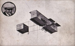 "1909 Voisin biplane, with ""curtains"" connecting the upper and lower wings"