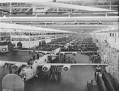 B-24s under construction at Ford's Willow Run line, 1942