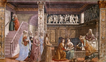 The Birth of Mary, Tornabuoni Chapel (1485-90), appears to represent a domestic scene from the life of contemporary Florentine nobility.