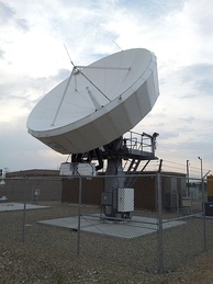 A Tier-1 satellite dish (manufactured by Level 3 Communications) in Boise, Idaho