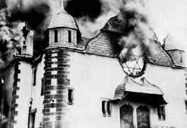 The synagogue in Siegen burning, 10 November 1938.