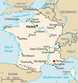 Location of Cadarache (marked in red) in southern France.