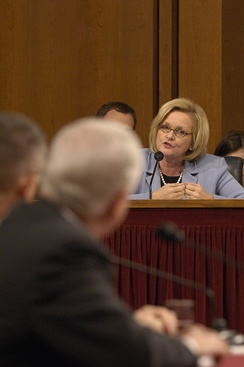 McCaskill speaking during a Senate hearing, January 12, 2007