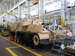 An M88 Recovery Vehicle at the Marine Corps Logistics Base Albany undergoes depot maintenance in 2005.