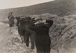 Polish teachers guarded by members of ethnic German Selbstschutz battalion before execution