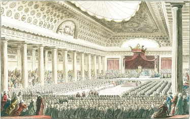 Opening of the Estates General on May 5, 1789 in the Grands Salles des Menus-Plaisirs in Versailles.