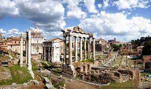 The Roman Forum are the remains of those buildings that during most of Ancient Rome's time represented the political, legal, religious and economic centre of the city and the neuralgic centre of all the Roman civilisation.[41]
