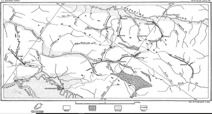 Geologic map of the Fairbanks District indicating placer mining along Pedro Creek