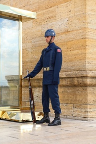 A Turkish soldier stands guard with his M1 rifle at the Anıtkabir Mausoleum.