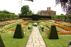 One of the Palace's sunken gardens. In the background is William III's Banqueting House (H on plan) of 1700.