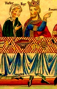 Pretzel depicted at a banquet of Queen Esther and King Ahasuerus. 12th century Hortus deliciarum