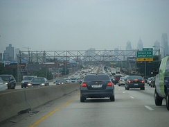 Traffic heading into Philadelphia on Interstate 95 during the morning rush hour.