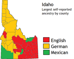 There are large numbers of Americans of German and English ancestry in Idaho.