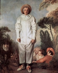 Painting of Pierrot, the object of Schoenberg's atonal suite Pierrot Lunaire, painted by Antoine Watteau