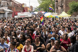 2018 Queens Pride Parade: Caribbean Equality Project at top, and the ensuing Multicultural Festival below.