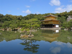 "Kinkaku-ji, (""the Temple of the Golden Pavilion'), is a Rinzai Zen temple built in the Muromachi period (c. 1397) and destroyed during the Onin War (it was later rebuilt)."