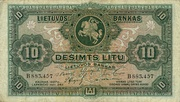 A banknote of 10 Lithuanian litas with Vytis (Pahonia) and the Columns of the Gediminids (1927)