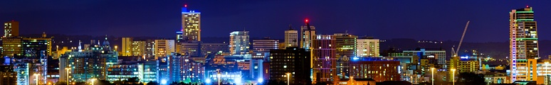 Leeds city centre, viewed from South Leeds at night