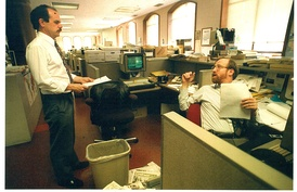 """Chronicle Insider"" columnists Phil Matier and Andrew Ross in the newsroom"