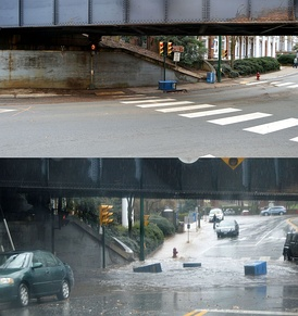 An urban underpass during normal conditions (upper) and after fifteen minutes of heavy rain (lower)